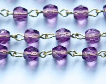 Purple Faceted Czech Glass 6mm Bead Chain Raw Brass Links chn141