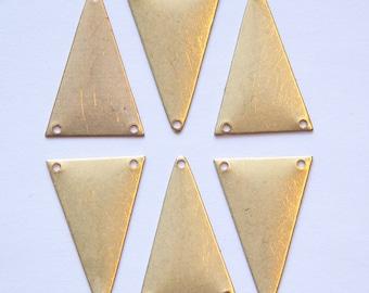 3 Hole Raw Brass Geometric Narrow Triangle Pendant Charm (6) mtl368B
