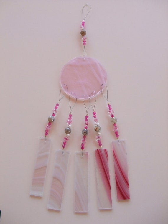 Free Shipping..Pink Baroque Stained Glass Windchime