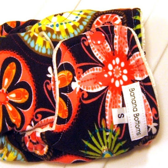 Small fitted bamboo diaper featuring Michael Miller's Carnival Bloom Fabric