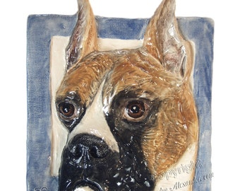 Boxer Dog Tile CERAMIC Portrait Sculpture 3d Art Tile Plaque FUNCTIONAL ART by Sondra Alexander In Stock