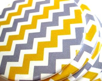 Yellow & Gray Chevron Coasters // Yellow Stripes Home Decor // Set of 6