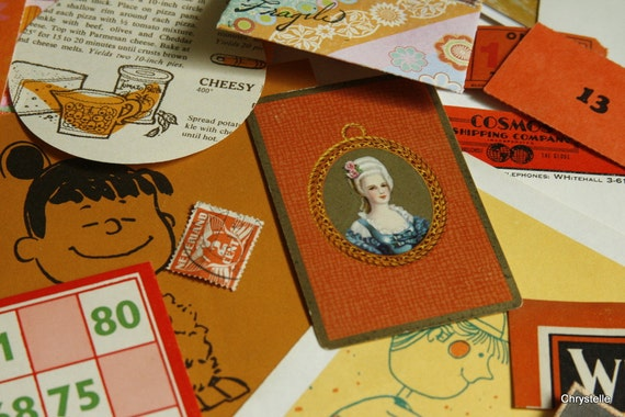 Vintage Paper Pack Sale ORANGE POP Ephemera - Altered Art Supplies -  Collage Kit - Mixed Media