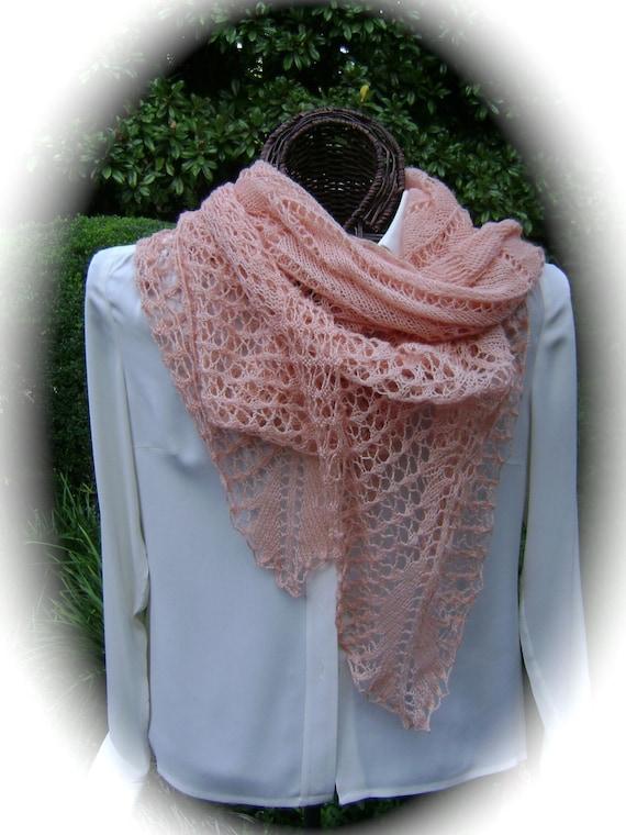 Peaches & Cream Silk/Wool Lace Wrap