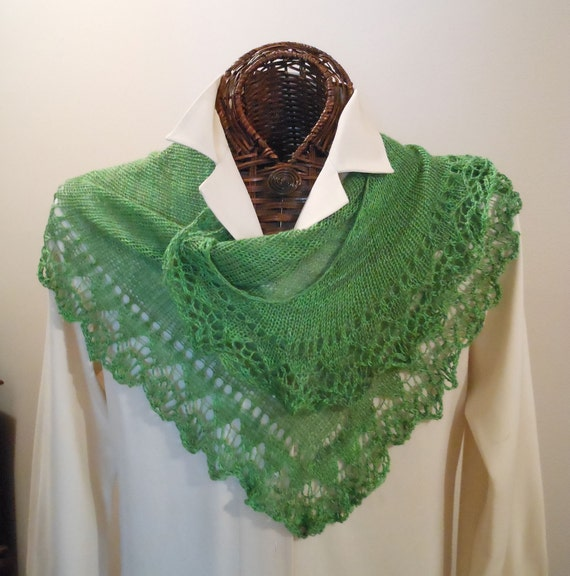 APPLE GREEN Cashmere Silk Lace-Edged Scarf