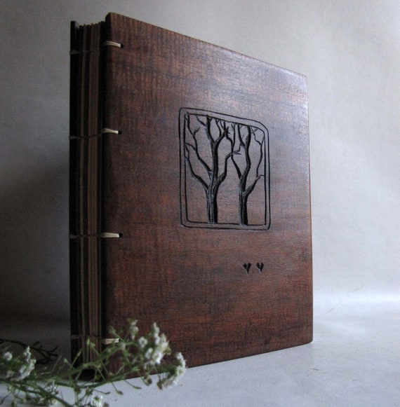 Wedding guest book Wooden covers  Two trees  RESERVED