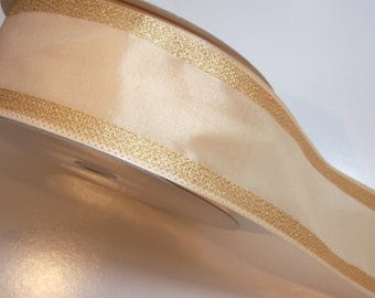 Christmas Ribbon, Cream and Metallic Gold Stripe Wired Fabric Ribbon 2 1/2 inches wide x 10 yards