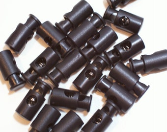 Black Cord Locks, Black Barrel Cord Locks 1 inch long 3/8 inch cord opening x 20 pieces