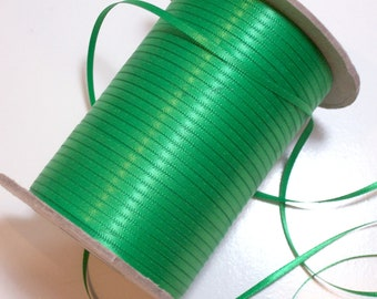 Green Ribbon, Double-Sided Christmas Green Satin Ribbon 1/8 inch wide x 10 yards