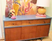 Mid Century painted blue and wood buffet - reserved for DrKendra