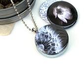 Dandelion Locket Necklace, Black and White Locket, Photography Locket, Dream Locket, Grandmother Gift, Eco Friendly, Polarity, Houseof6Cats