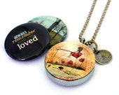 Fishing for LOVE Locket - Custom Stamped Locket - Daughter Locket - Magnetic, Recycled by Polarity - LavennzOsy Collection