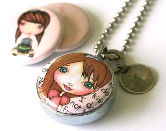 Princess Locket Necklace - Custom Stamped Locket - Pink Princess Saves Herself Frog Girl Gift - Upcycled by Polarity