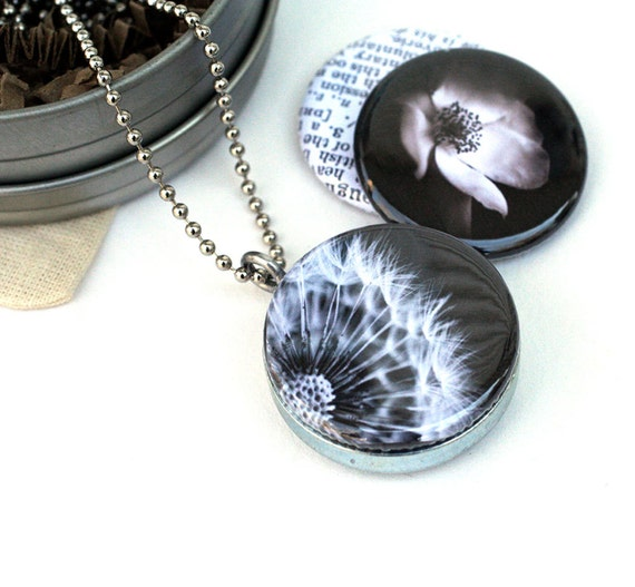 Dandelion Locket Necklace, Black and White Locket, Photography Locket, Dream Locket, Grandmother Gift, Eco Friendly, Polarity, Houseof6Cats