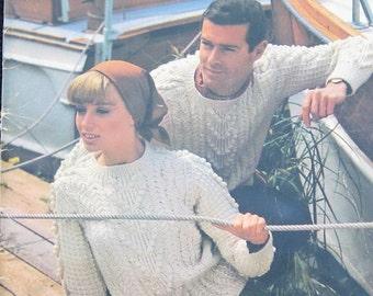 Vintage Patons Aran Fisherman Knitting Pattern Book