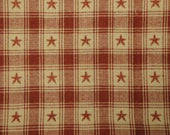 MISWOVEN Country Cupboard Jacquard Wine Star Plaid 1 Yard MISWOVEN
