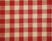 FLAWED Check Fabric | Large Check Fabric | Homespun Fabric | Large Red Check Fabric |  FLAWED 31  x 44