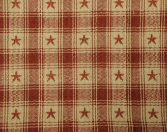 Country Cupboard Jacquard Wine Star Plaid 1 Yard