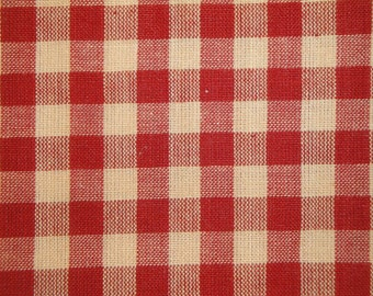 Check Fabric | Large Check Fabric | Homespun Fabric | Large Red Check Fabric |  25 x 44