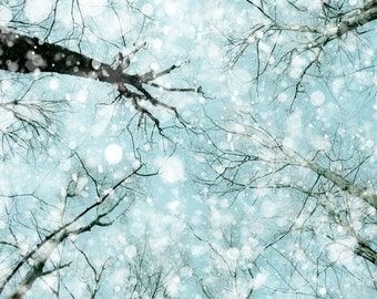 Winter snow photography, nature photo, falling snow, forest photography, abstract, light blue, bokeh snow, snowflake, cottage