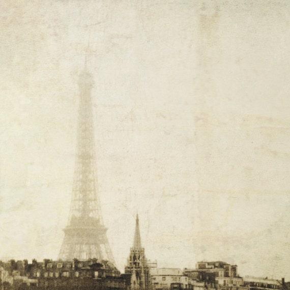Paris photography Eiffel Tower France romantic print sepia film photography modern decor misty Europe - Paris 8x8