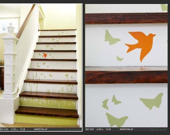 Grass Wall Decal with Birds and Butterflies - Stairs Set - Vinyl Wall Art Sticker - HT106