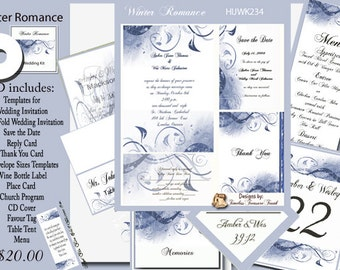 Delux Winter Romance Wedding Invitation Kit on CD