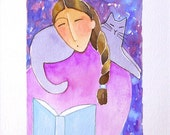 Cat Lady Watercolor Painting/ Gray Library Kitty by Susan Faye