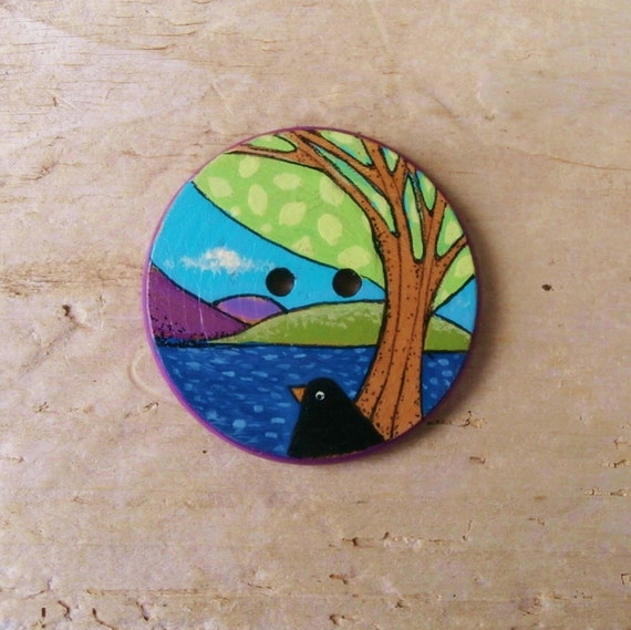 Loch View - Sewing Button - Handpainted Wood - Large - 38 mm - UK Buttons - International Shipping