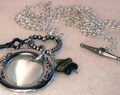 SHOP CLOSING SALE - Charm Necklace, Silver Chain, Gunmetal Key, Glass Star, Lariat Jewelry, Heart Clasp