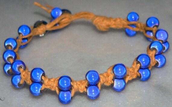 Blue Bracelet, Glass Bead Bracelet, Yellow Gold Macrame Cord Jewelry, Woven & Braided Bracelet, Teen Gift, Team Bracelet, Men Jewelry, Wrap