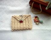 Rosebud Rosary Case Jewelry Pouch Coin Purse Gift Bag Thread Art