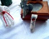 Rosebud Lip Balm Holder Keyring Crochet Thread Art