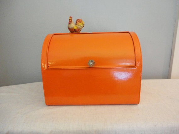 Vintage Metal Bread Box - Upcycled with Orange Paint & Glass Knob