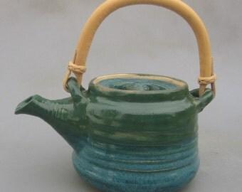 Stoneware Green Teal Teapot