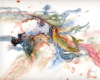 Watercolor Painting Fairy Art, Fairy Painting, Fairy Watercolor, Fairy Art Print, Sea Life Painting, Ocean Art Print Titled One Breath