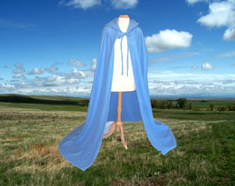 Cloak - Blue Hooded Fleece Cape  - Renaissance Festival- Wedding - Halloween Costume
