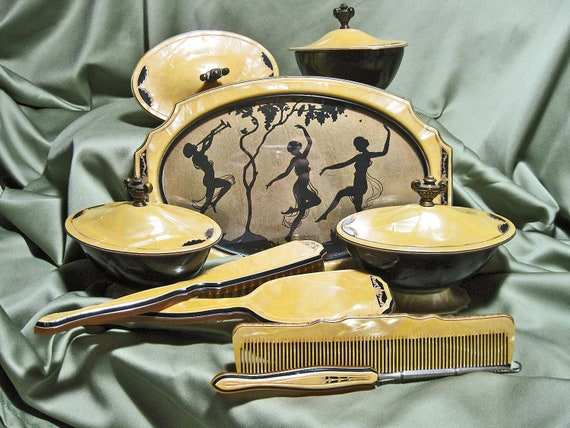 Vintage Art Deco Vanity Set Celluloid