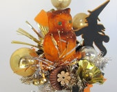 Halloween Decoration Vintage Flocked Owl with Witch