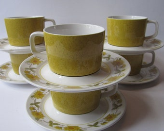 Mikasa Mediterrania Caracas Yellow Green Cup and Saucer Set of Six - Retro Vintage