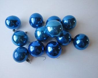 Vintage Poland Bright Blue Glass Christmas Tree Ornaments One Dozen