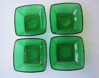 Vintage Anchor Hocking Forest Green Charm Dessert Bowls Set of Four