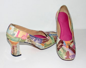 Decoupaged European Currency High Heels Sz 8 Womens Chunky Heels Multicolored Recycled Money Romania Poland Italy Turkey
