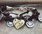 Mom Bracelet - Adjustable Bracelet - Personalized Bracelet -Her Favorite People - Handstamped Bracelet - Leather Charm Bracelet - Gift