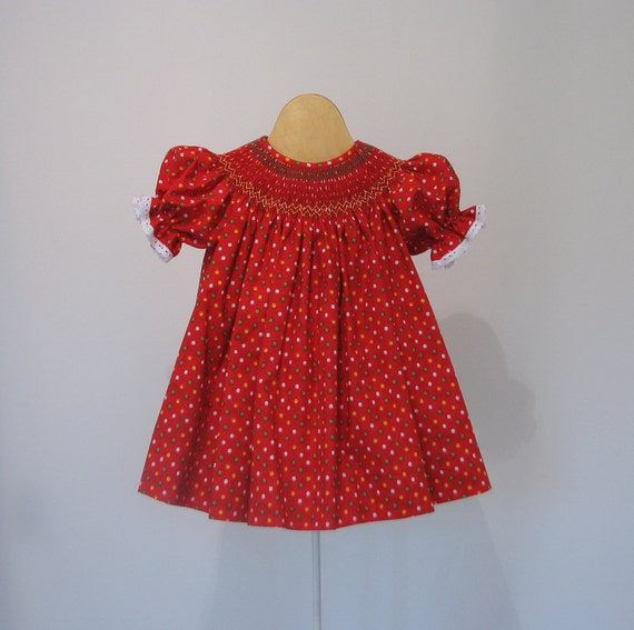 Christmas dress smocked bishop 12 18 months by leapinglizzie
