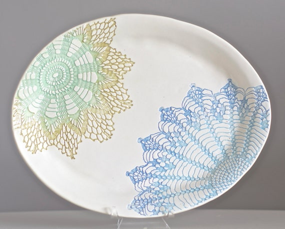 Candied Oval Platter, green and blue handmade