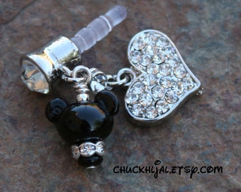 Dust Plug Mickey Mouse Style Disney Inspired Dangle DeSIGNeR Cell Phone Charm iPod iPad iPhone Protector