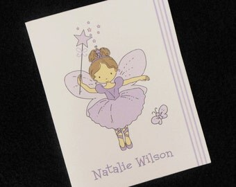 Personalized Note Cards, thank you cards, purple fairy design, set of 10 with envelopes