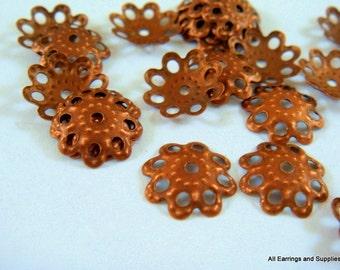 25 Antique Copper Flower Bead Caps 10mm NF - 25 pc - F4072BC-AC25