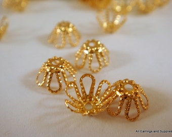 25 Gold Flower Bead Caps Gold Plated 7mm - 25 pc - 1118-10